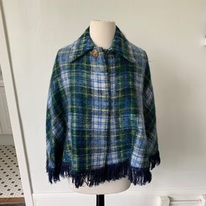 Vintage Wool and Mohair Plaid Cape
